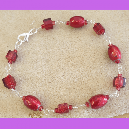 Recycled Red Bead Bracelet