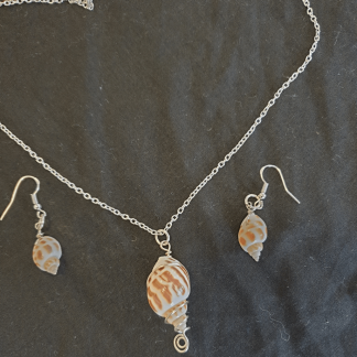 Shell Pendant and Earring Set